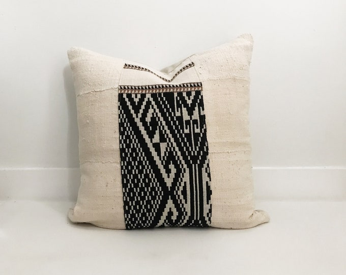 Pillow Cover, Ethnic, Handwoven, Mudcloth, Cream and Black, Boho Pillow