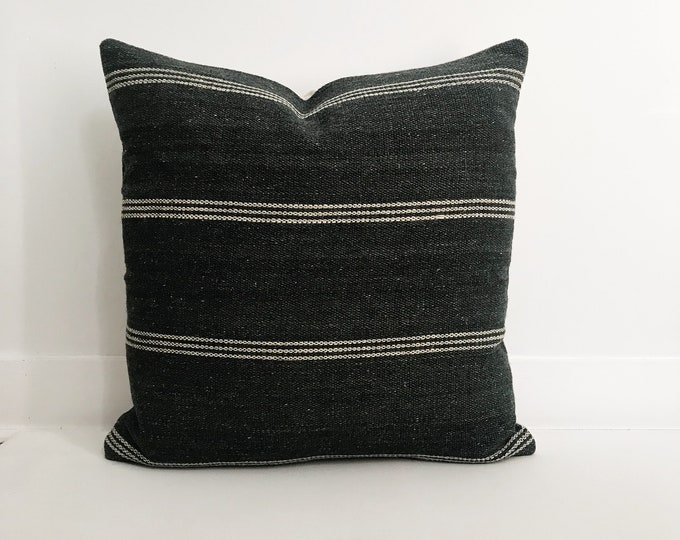 Wool Indian Pillow Cover, Dark Grey, Striped