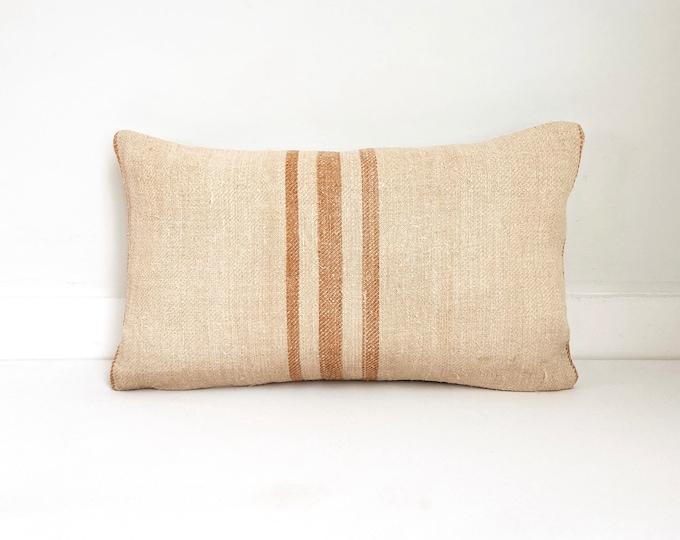 Vintage Grain Sack Pillow, Farmhouse, Rust, Neutral, Boho Pillow, Lumbar and Square