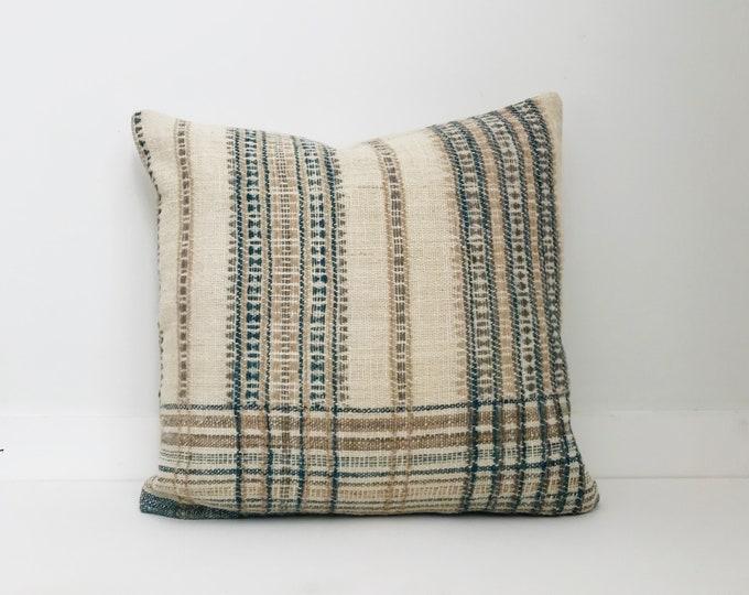 Boho Pillow, Wool Pillow, Neutral Pillow, Cream, India, Decorative Pillow, Pillow Covers, Plaid Pillow, Boho Chic, Home Decor