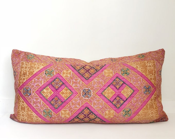 Boho Pillow, Silk Pillow, Vintage, One Of A Kind, Colorful, Pillow Covers, Throw Pillow, Decorative Pillows, Bohemian, Indian Textile