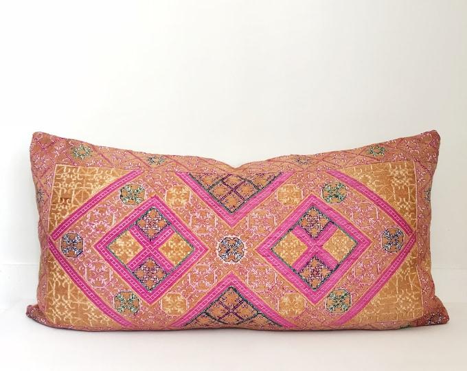 Vintage Silk Indian Pillow Cover, Lumbar, Boho Pillow