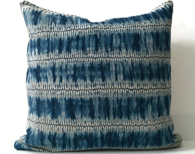 Boho, Pillow, Hmong, Vintage, Pillow Covers, Throw Pillow, Decorative Pillows, Bohemian, Batik, Blue, Hemp, Home Decor, Tie Dye