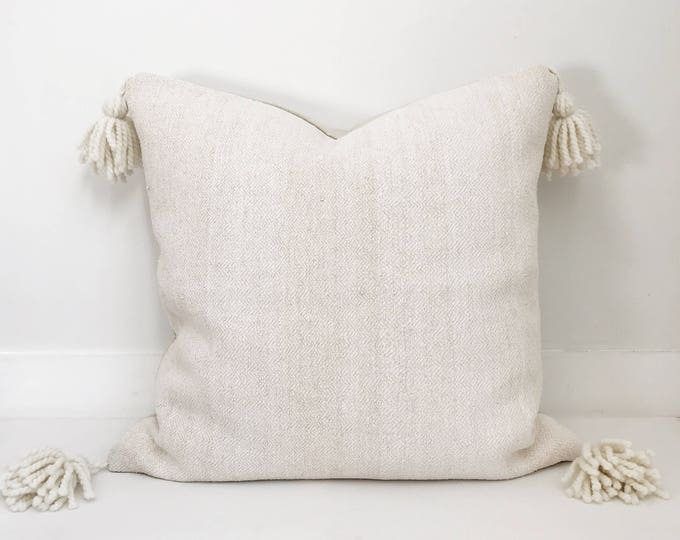 Tassel Pillow Cover, Ivory, Ethnic, indian, Handwoven, Boho Pillow