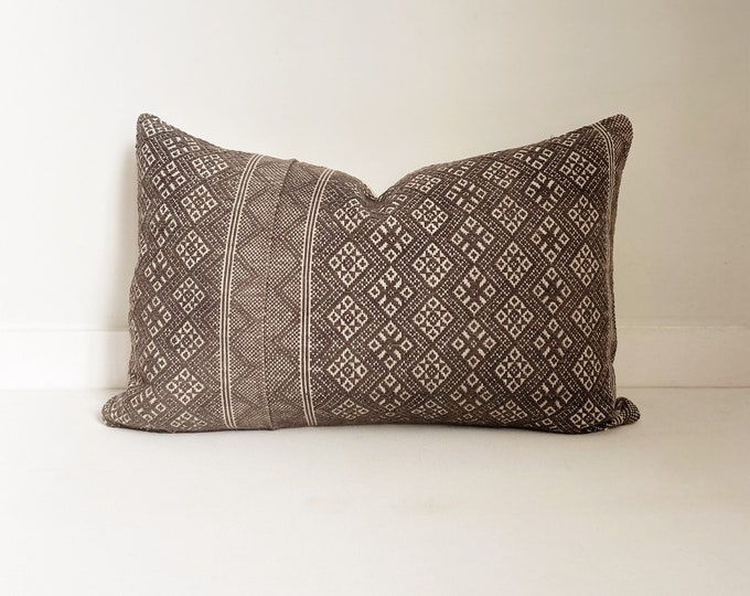Chinese Wedding Blanket Pillow Cover, Embroidered, Lumbar, Gray and White