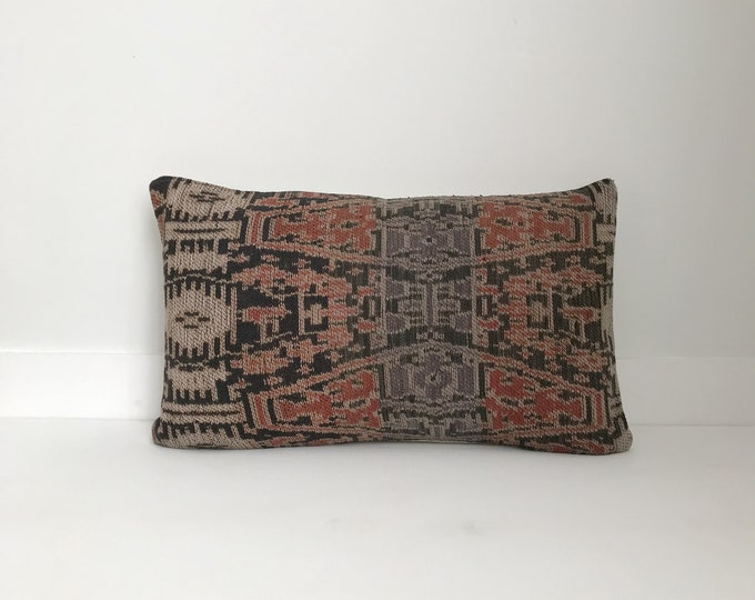 Pillow Cover, Textile, Ethnic, Asian, Handwoven, Vintage Ikat, Boho Pillow, Lumbar