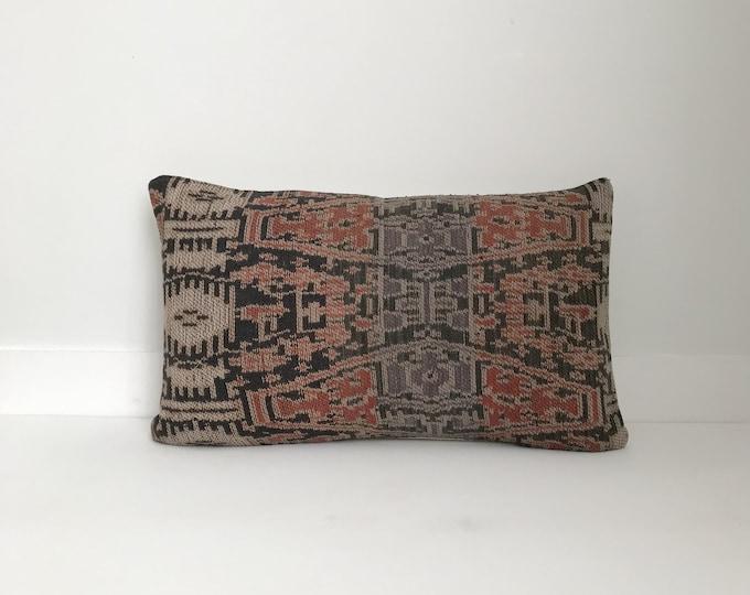Pillow Cover, Textile, Ethnic, Asian, Handwoven, Vintage Ikat, Boho Pillow, Lumbar