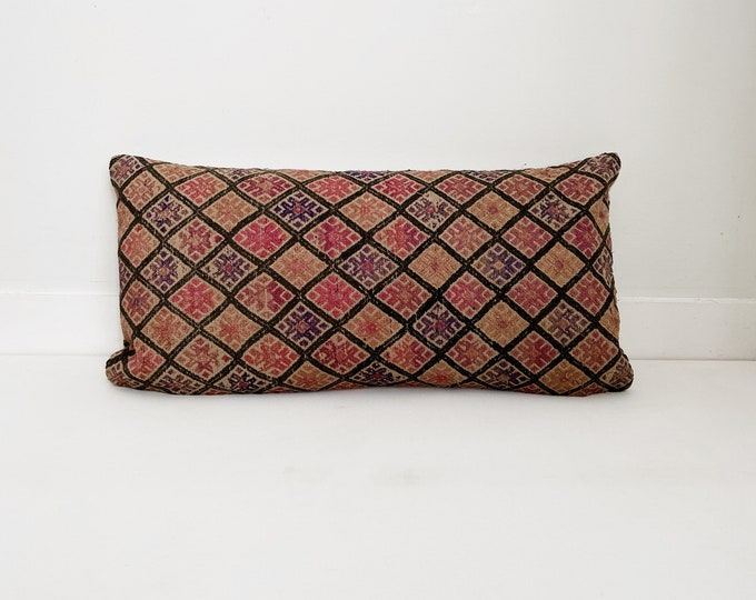 Chinese Wedding Blanket Pillow Cover, Embroidered, Pink and Tan