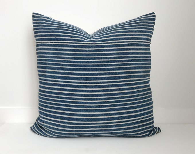 Striped Indigo Pillow Cover, Lumbar and Square, Vintage, Boho Pillow