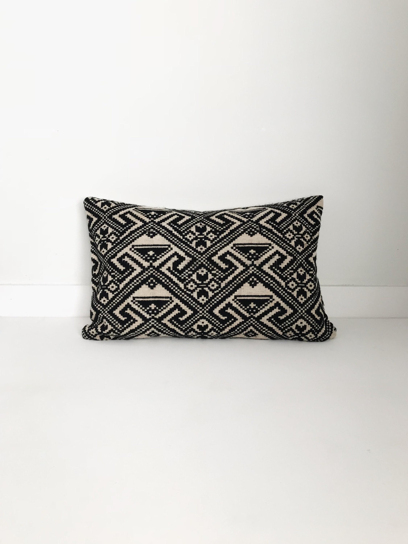Boho Pillow Black And White Pillow Lumbar Pillow Vintage