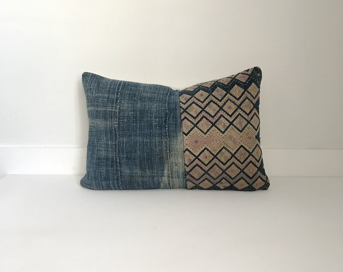 Mixed Chinese and Indigo Pillow Cover, Vintage, Ethnic, Handwoven, Hand loomed, embroidered, Lumbar