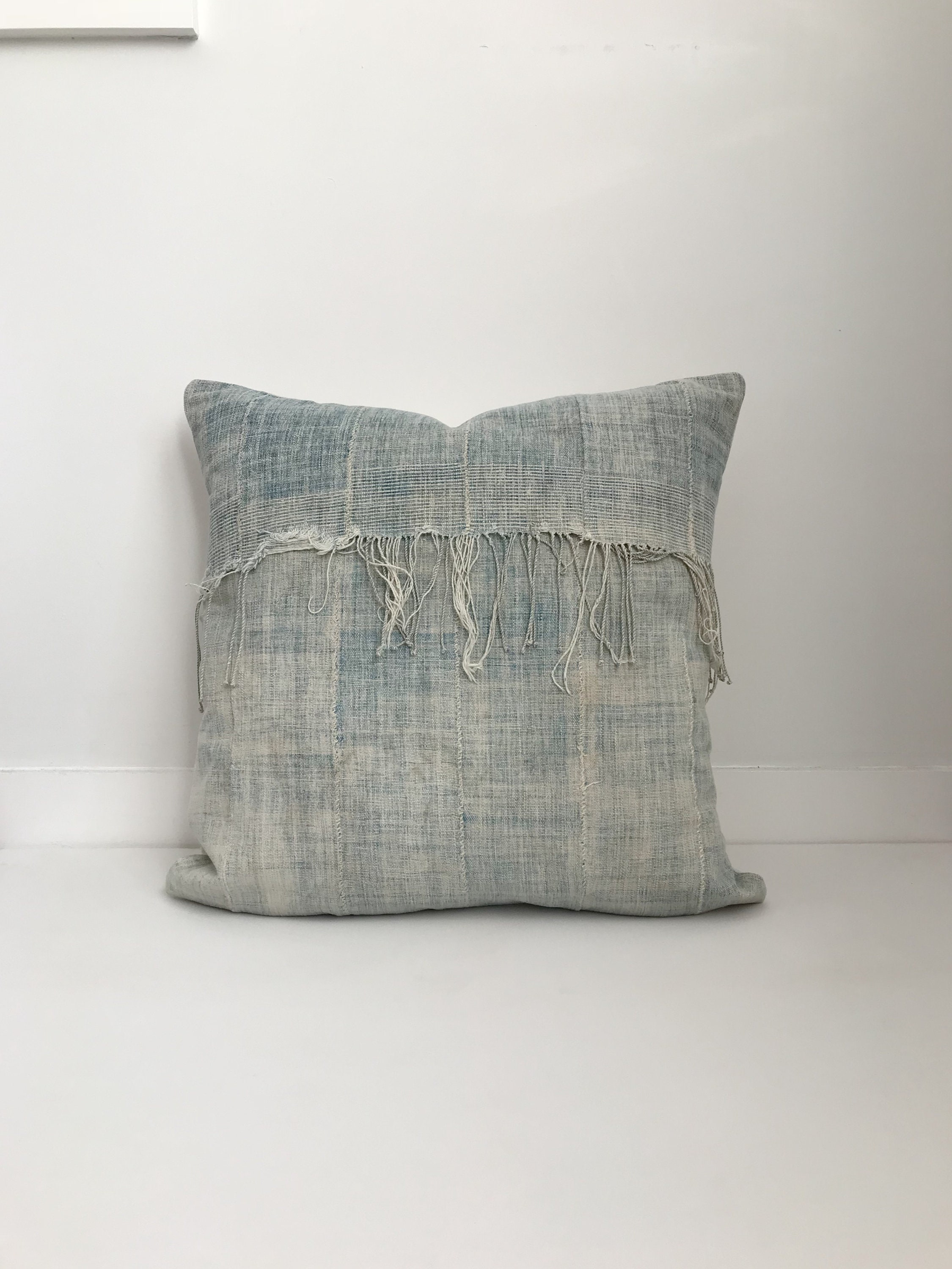 Picture of: African Indigo Pillow Cover Ethnic Vintage Blue Boho Pillow Fringe