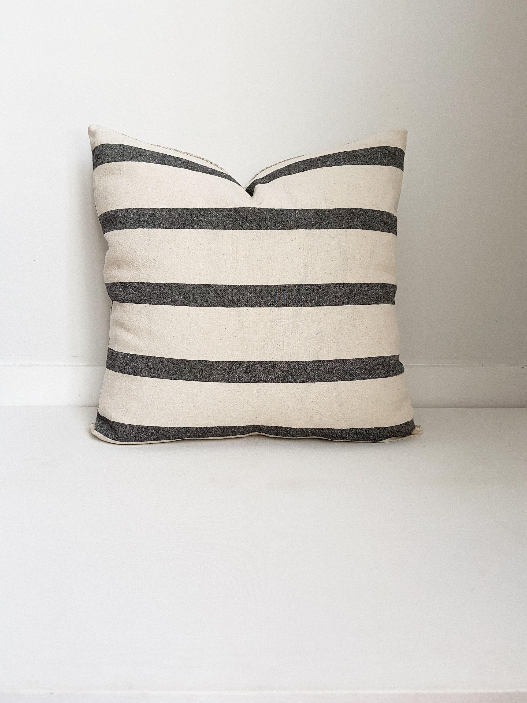 Black And White Striped Pillow Boho Pillow Modern Farmhouse