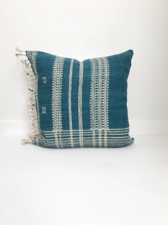 Boho Pillow Wool Pillow Neutral Pillow Teal India Decorative Pillow