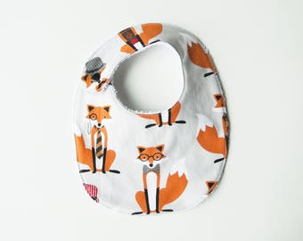 "Bib ""Foxes"" in cotton and sponge, birth size at 12 months"