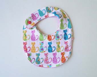 "Bib ""cats"" in cotton and sponge, size birth at 12 months"