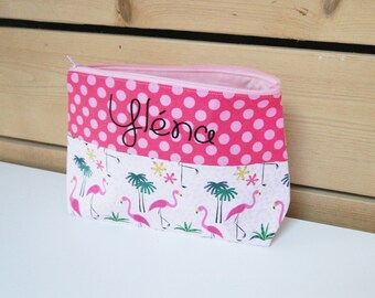 "Toiletry bag ""flamingos"" ON ORDER name child girl in cotton lined customizable"