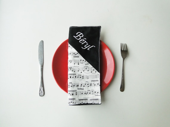 Napkin guitar child doubled with first name and message cotton