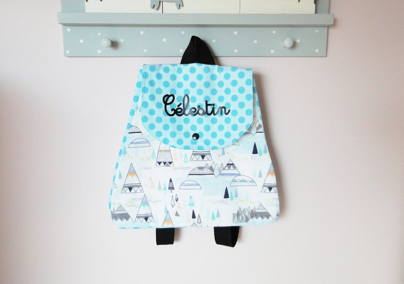 Backpack tepee and indian kindergarten child on custom order in cotton