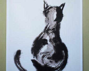 """Print: """"Cat, ignoring you"""", Japanese ink drawing, Sumi-e"""
