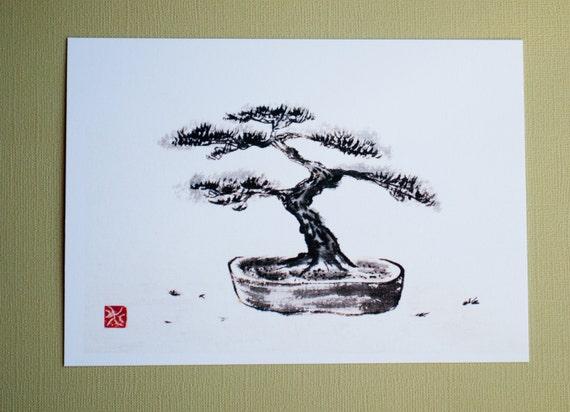 Print Bonsai Tree Japanese Ink Drawing Sumi E Etsy