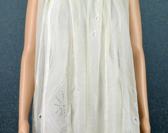 White real silk georgette embroidery beading scarf, thin shawl, holiday gifts