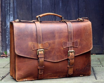 Personalised Real Leather Mens Briefcase Laptop Bag Messenger Bag Office Shoulder Bag Gifts For Him Christmas gift /Brown