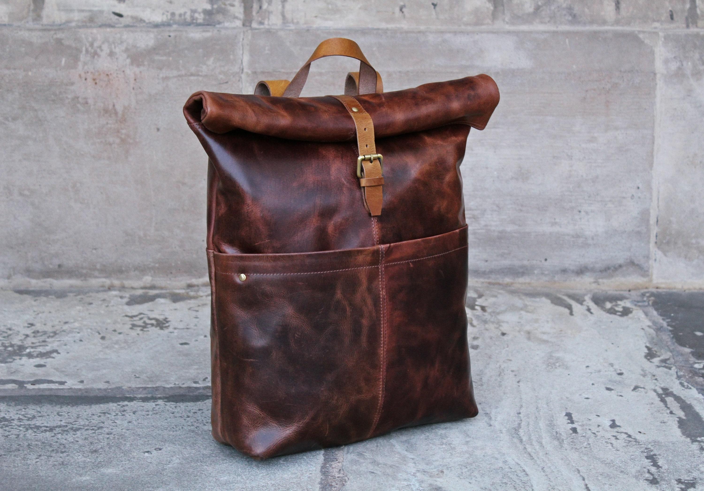 Personalised Leather backpack Mens laptop backpack Mens  efbb436b0