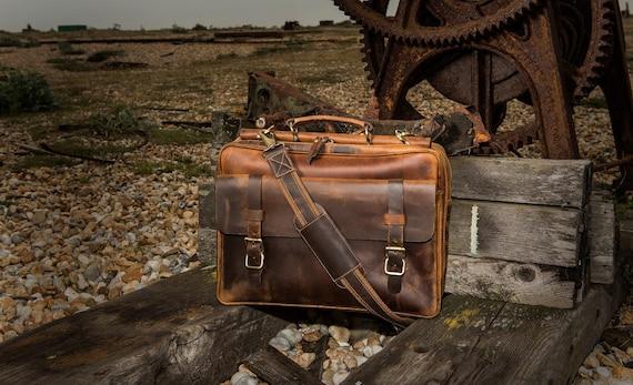 """Rare Leather Messenger Bags Mens Shoulder 15/"""" Satchel Courier Flap Laptop Bag"""