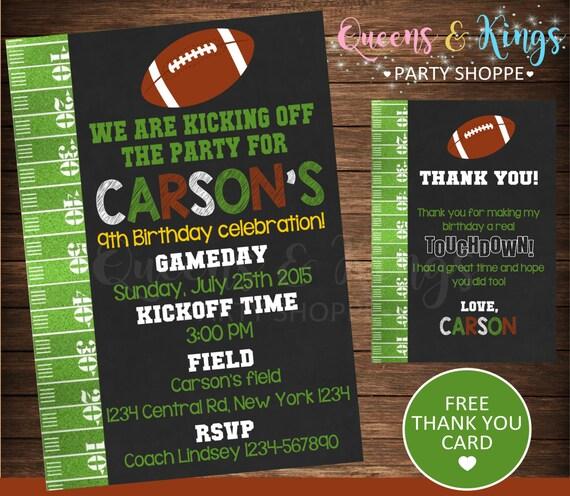 Football Invitation Birthday Invite Sports Nfl Party Sports Etsy