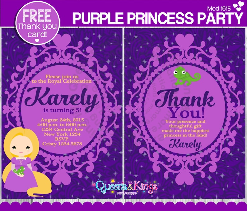 Tangled Rapunzel Invitation Tangled Birthday Party Invitation Rapunzel Party Invitation Princess Invitation FREE THANK YOU Card