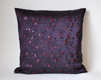 Pillow Case Jewelry pillow taffeta flower embroidery sequins 40 x 40 cm 16 x 16 inch eggplant nougat Cushion Pillow Cover
