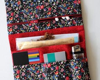 Black bag Dreherbeutel tobacco pouch Drehertasche jeans pink red tobacco pouch