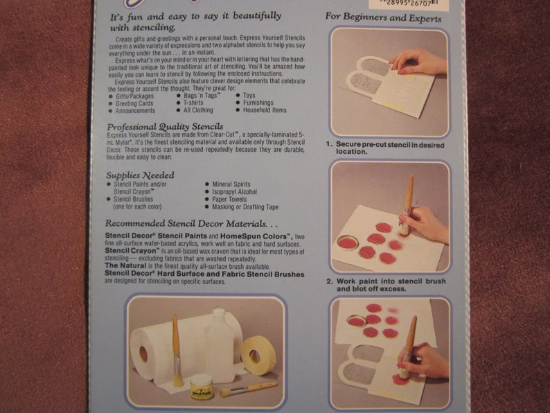 Goodie Bag Care Package stencil with canvas draw string wine bag and 4x6 mini handle bag Express Yourself with instructions