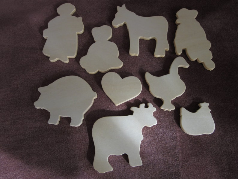 farm animals Bless Our Country Home instruction sheet folk art tole painting 9 unpainted wood cut outs
