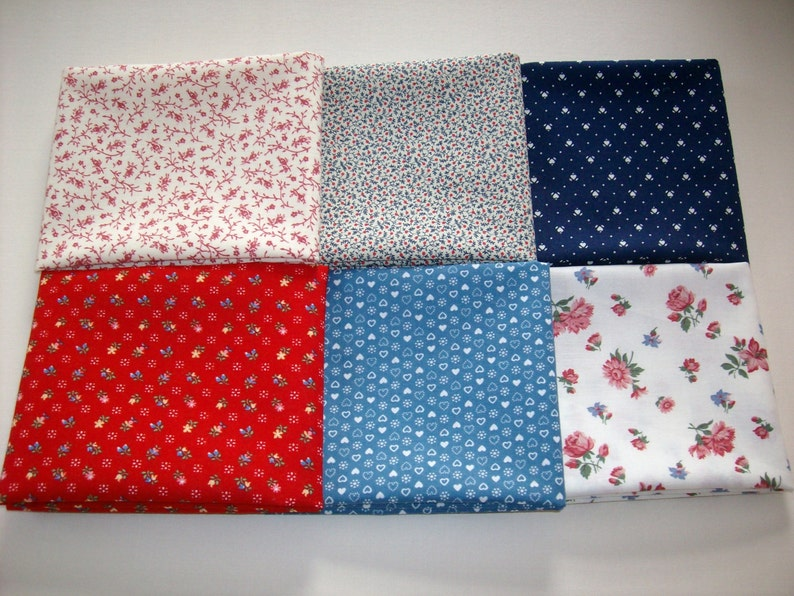 6 fat quarters vintage fabric red,blue off white navy tiny floral and hearts