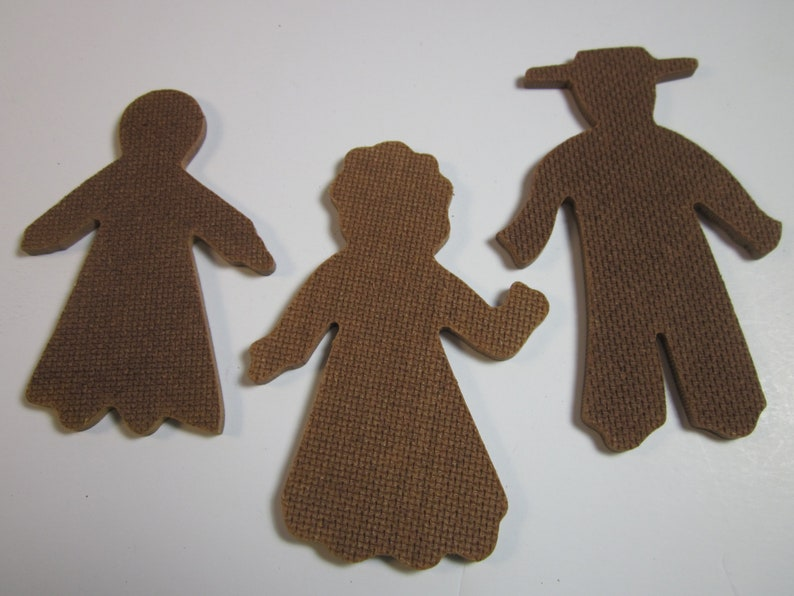 34 pcs Slate Mates wood cut outs vintage stock Amish man,woman and girl 2.5-3.5 ornaments for painting