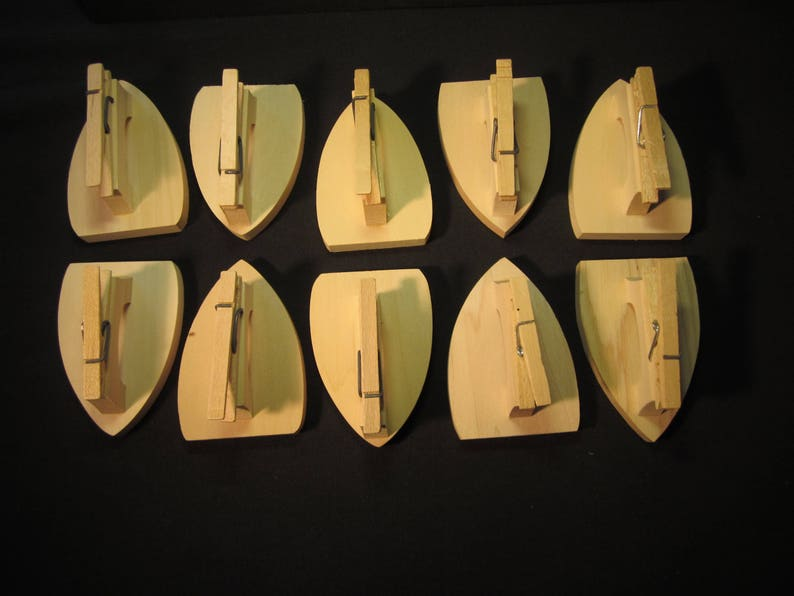 10 iron shaped wood clothes pin recipe holders unpainted kid craft bible school