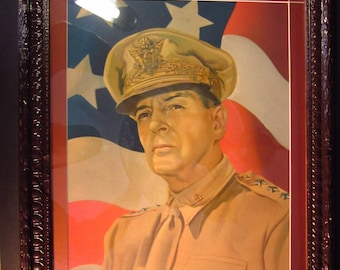 "General Douglas MacArthur vintage 1945-46  print,16""x20"" original frame carved wood, recently custom matted and backed with new glass"