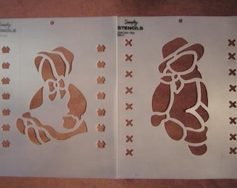 """7"""" Boy and Girl cloth doll stencils, folk art"""