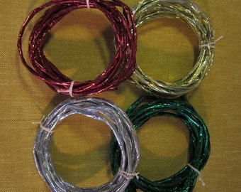4 rolls metallic creative twist, 3 yards each, gold,red,green,silver, to make bows and crafts