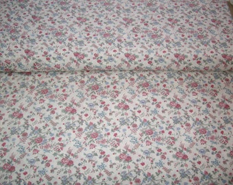 Concord House, Country Florals, vintage fabric ,off white w/ lt burg flowers,by yard,100% cotton