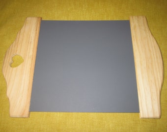 "Slate, black board, tavern sign with wood top and bottom, 16"" x 11"", for writing on with chalk"