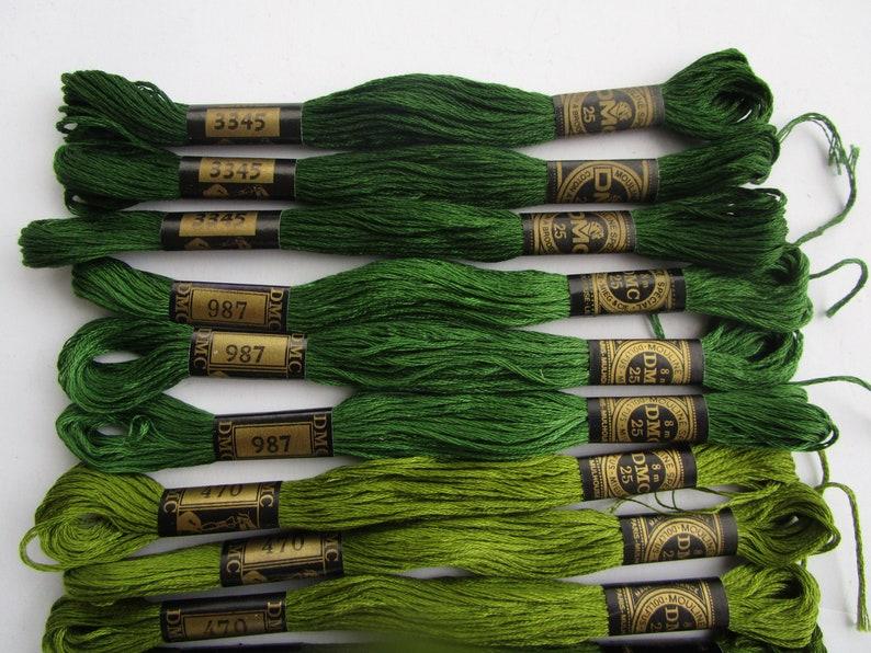 6 strand cotton 30 skeins 3 ea.,3363,895,3364,989,988,3347,937,470,987,3345 #9 10 shades foliage leaf olive green DMC cross stitch thread