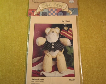 """Button Babies, Samuel Bear 12"""" doll pattern, #6229, complete with instructions"""