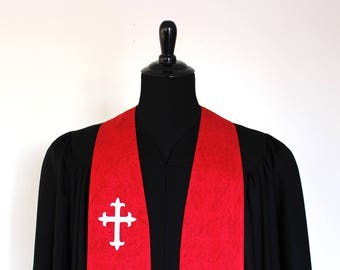 "Clergy Stole, Red on Red #181, White Cross, Ordination, 54"" Length, Vestments, Church"