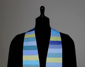 "Clergy Stole, Seaglass #232, Pastor Stole, Minister Stole, Green, Blue, 54"" Length, Pastor Gift, Vestments, Church"