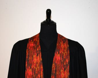 "Clergy Stole, Red Autumn #146, Pastor Stole, Minister Stole, 54"" Length, Pastor Gift, Vestments"