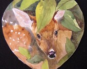 Original painting of fawn in heart shaped frame