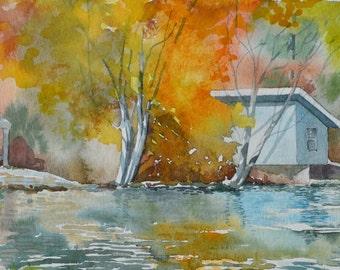Watercolor: Connestee Falls Boathouse